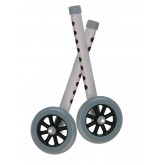 "Drive Medical Walker Wheels with Two Sets of Rear Glides, for Use with Universal Walker, 5"", Gray, 1 Pair"