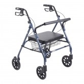 Drive Medical Heavy Duty Bariatric Rollator Rolling Walker with Large Padded Seat, Blue