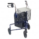 Drive Medical 3 Wheel Rollator Rolling Walker with Basket Tray and Pouch, Flame Blue