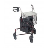 Drive Medical 3 Wheel Rollator Rolling Walker with Basket Tray and Pouch, Flame Red