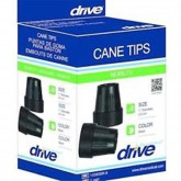 Drive Medical Cane Tips for 1  Cane Diameter Black (Pair)  Retail Box