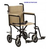 Drive Medical Transport Chair-17  Alum Tan Plaid/ Designer Fly-Weight