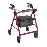 Drive Medical Rollator 4-Wheel with Pouch & Padded Seat  Red - Drive