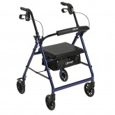 Drive Medical Rollator 4-Wheel with Pouch & Padded Seat Blue - Drive