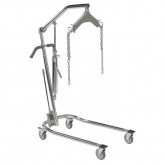 "Drive Medical Hydraulic Patient Lift with Six Point Cradle, 5"" Casters, Chrome"