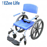 """Ezee Life Aluminum Shower Commode Chair 15"""" seat with 22"""" wheels"""