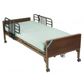 Drive Medical Delta Ultra Light Semi Electric Hospital Bed with Half Rails and Therapeutic Support Mattress