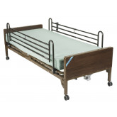 Drive Medical Delta Ultra Light Semi Electric Hospital Bed with Full Rails and Foam Mattress