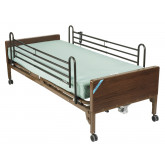 Drive Medical Delta Ultra Light Semi Electric Hospital Bed with Full Rails and Therapeutic Support Mattress