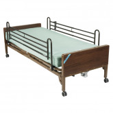 Drive Medical Delta Ultra Light Semi Electric Hospital Bed with Full Rails and Innerspring Mattress