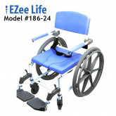 "Ezee Life Aluminum Shower Commode Chair 22"" seat with 24"" wheels"
