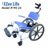 "Ezee Life Aluminum Tilt Shower Commode Chair 18"" with 24"" wheels"
