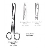 Complete Medical Operating Scissors- Sharp/Blunt- 4 1/2  Straight
