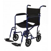 "MEDLINE Aluminum Transport Chair with 8"" Wheels,Blue,F: 8   R: 8 1 Each / Case"