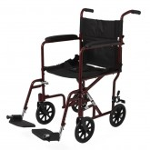 """MEDLINE Aluminum Transport Chair with 8"""" Wheels,Red,F: 8   R: 8 1 EA / CS"""
