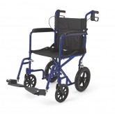 "MEDLINE Aluminum Transport Chair with 12"" Wheels,Blue,F: 8   R: 12 1 Each / Case"