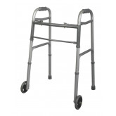 "MEDLINE Youth Two-Button Folding Walkers with 5"" Wheels,5"" 1 EA / EA"