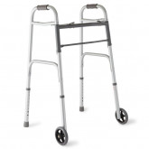 "MEDLINE Two-Button Folding Walkers with 5"" Wheels,5"" 1 EA / EA"