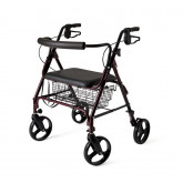 "MEDLINE Standard Bariatric Heavy Duty Rollator,Burgundy,8"" 1 EA / EA"