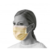 MEDLINE Isolation Face Masks with Earloops,Yellow 50 EA / BX