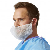 MEDLINE Head & Beard Covers,White,One Size Fits Most 1000 EA / CS