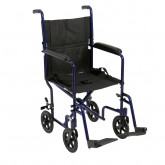 "Drive Medical Lightweight Transport Wheelchair, 17"" Seat, Blue"