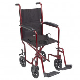 "Drive Medical Lightweight Transport Wheelchair, 17"" Seat, Red"
