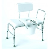 Compass Health Bathtub Transfer Bench  Vinyl Padded  w/ Cut-out & Pail