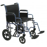"Drive Medical Bariatric Heavy Duty Transport Wheelchair with Swing Away Footrest, 20"" Seat, Blue"