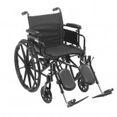 """Drive Medical Cruiser X4 Lightweight Dual Axle Wheelchair with Adjustable Detachable Arms, Desk Arms, Elevating Leg Rests, 16"""" Seat"""