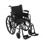 """Drive Medical Cruiser III Light Weight Wheelchair with Flip Back Removable Arms, Adjustable Height Desk Arms, Swing away Footrests, 18"""""""