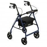 Drive Medical Aluminum Rollator Rolling Walker with Fold Up and Removable Back Support and Padded Seat, Blue