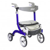 Drive Medical Nitro DLX Euro Style Rollator Rolling Walker, Sleek Blue