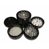 "Sharpstone Classic (2.2"" Inch) Clear Top Herb and Tobacco Grinder - 4pc, Medium, Black"