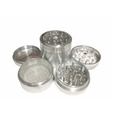 """Sharpstone Classic (2.2"""" Inch) Clear Top Herb and Spice Grinder - 4pc, Medium, Silver"""