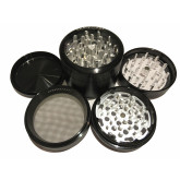 "Sharpstone Classic (2.5"" Inch) Clear Top Herb and Tobacco Grinder - 4pc, Large, Black"