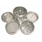 "Sharpstone Classic (2.5"" Inch) Clear Top Herb and Tobacco Grinder - 4pc, Large, Silver"