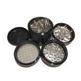 """Sharpstone Classic (2.5"""" Inch) Crank Top Herb and Spice Grinder - 4pc, Large, Black"""