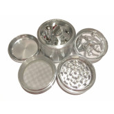 """Sharpstone Classic (2.5"""" Inch) Crank Top Herb and Spice Grinder - 4pc, Large, Silver"""