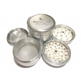 """Sharpstone Ceramic (2.5"""" Inch) Hard Top Herb and Tobacco Grinder - 4pc, Large, Silver"""