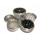 """Sharpstone Version 2.0 (2.2"""" Inch) Clear Top Herb and Spice Grinder - 4pc, Medium, Silver"""
