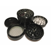 """Sharpstone Version 2.0 (2.5"""" Inch) Clear Top Herb and Spice Grinder - 4pc, Large, Black"""