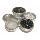 """Sharpstone Version 2.0 (2.5"""" Inch) Clear Top Herb and Spice Grinder - 4pc, Large, Silver"""