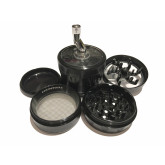 "Sharpstone Version 2.0 (2.5"" Inch) Crank Top Herb and Tobacco Grinder - 4pc, Large, Black"