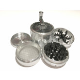"Sharpstone Version 2.0 (2.5"" Inch) Crank Top Herb and Tobacco Grinder - 4pc, Large, Silver"
