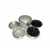 "Sharpstone Version 2.0 (2.5"" Inch) Hard Top Herb and Tobacco Grinder - 4pc, Large, Silver"