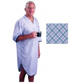 Salk Incorporated Sleep Shirt Patient Gown-Men Large-Extra Large  Blue Plaid