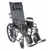 "Drive Medical Silver Sport Reclining Wheelchair with Elevating Leg Rests, Detachable Desk Arms, 16"" Seat"