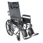 "Drive Medical Silver Sport Reclining Wheelchair with Elevating Leg Rests, Detachable Full Arms, 16"" Seat"
