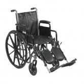 "Drive Medical Silver Sport 2 Wheelchair, Detachable Desk Arms, Elevating Leg Rests, 16"" Seat"